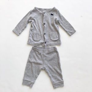Carters gray ribbed set VGUC 3 months
